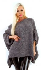 Oversize Cape Pullover mit Bouclé-Optik  in graphit
