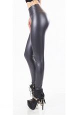 Modische Thermo-Leggings im sexy Wetlook - graphite