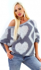 Oversize Pullover in Cape-Optik mit hübschen Muster in blau