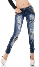 Sexy Röhren-Jeans mit Pailletten-Applikationen und Vintage-Effekten in blue washed
